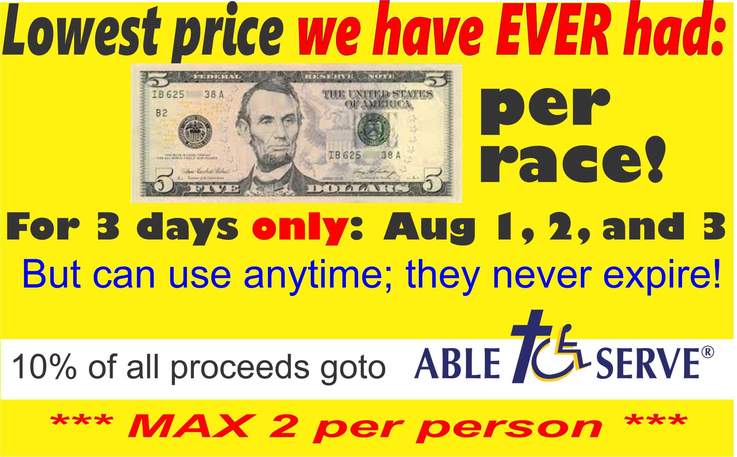 $5 race promotion